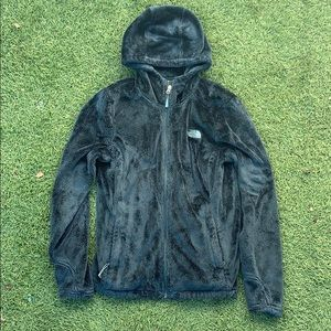 Forest green The North Face fuzzy jacket sz small